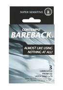 Contempo Condom Bareback Lubricated 3 Pack