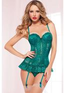 Kiss Of Envy Bustier W/ Thong-emrld-l