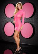 Long Sleeve Backless Mini Dress - Pink