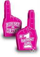 Number 1 Birthday Girl Foam Finger 18 Inch Pink