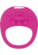 Key Ela Rechargeable Vibrating Silicone Ring Waterproof Raspberry Pink