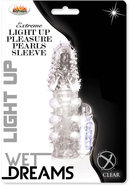 Wet Dreams Extreme Light Up Pleasure Pearl Silicone Textured Sleeve Waterproof Clear