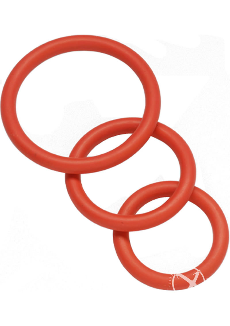 Nitrile Cock Ring Set 3 Sizes Per Pack Red