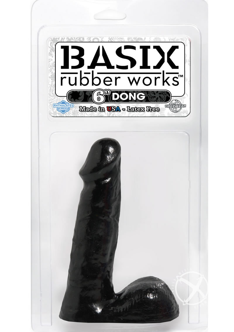 Basix Rubber Works 6 Inch Dong Black
