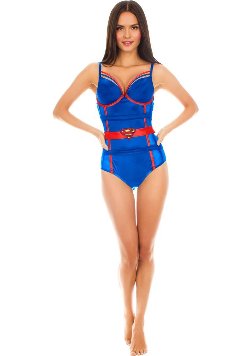 Superman Satin/mesh Body Suit-small