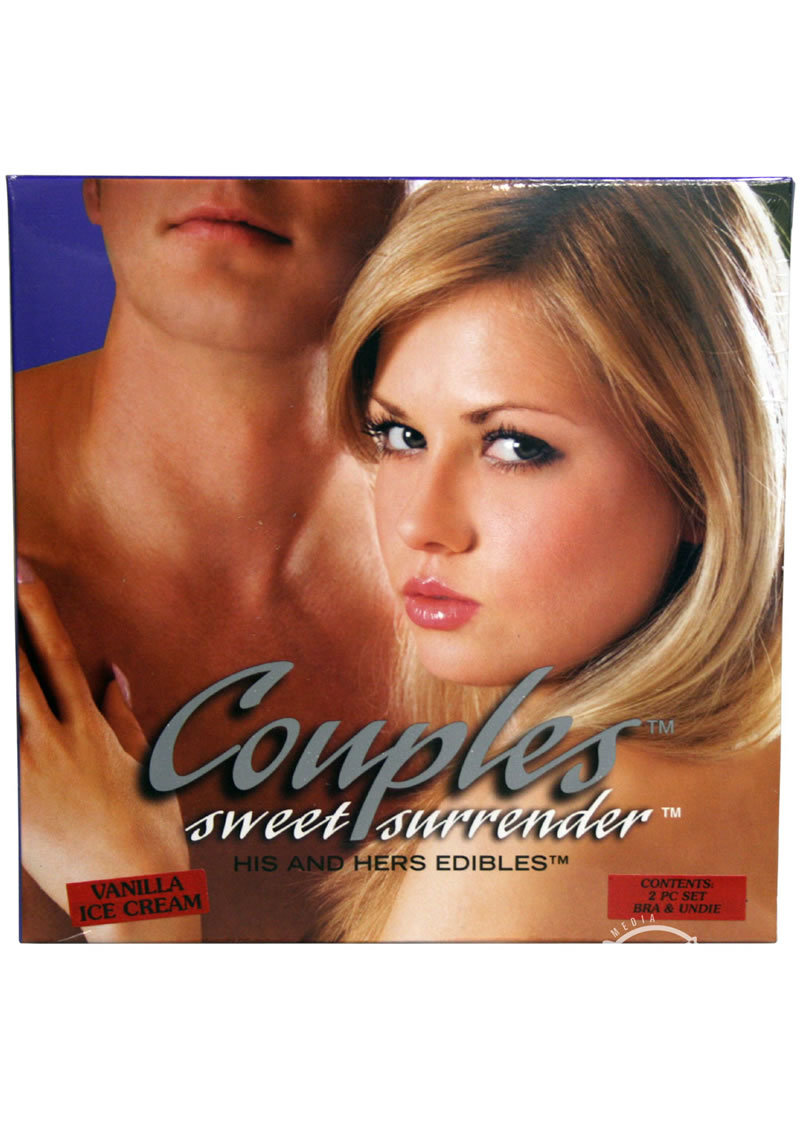 Couples Sweet Surrender His And Hers Edibles Bra And Undies Set Vanilla Ice Cream