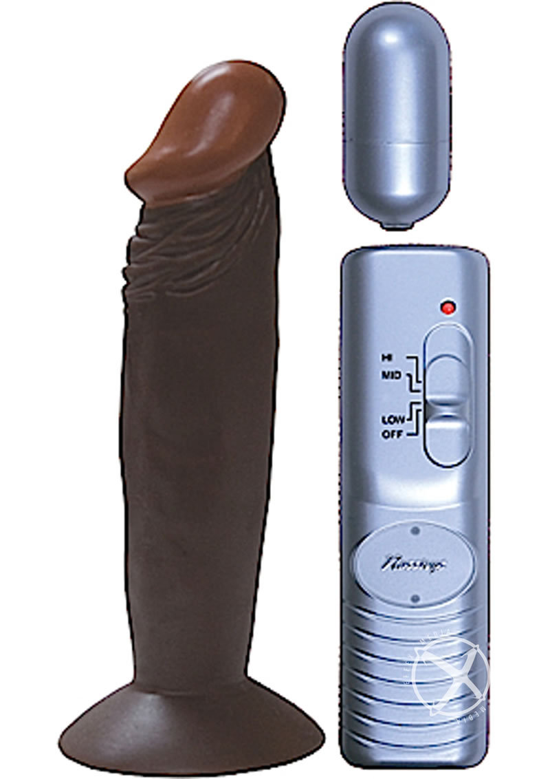 Real Skin Afro American Whoppers Vibrating Dong 8 Inch Brown