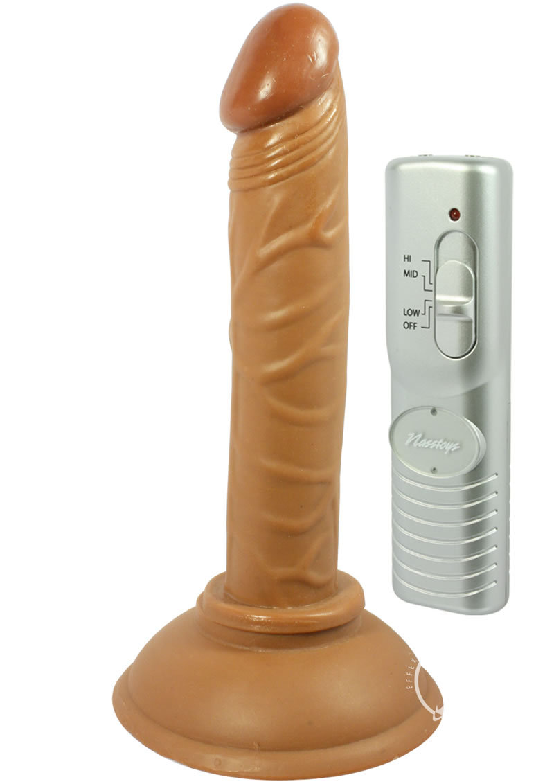 Real Skin Latin American Mini Whoppers Vibrating Dong Brown 4 Inch
