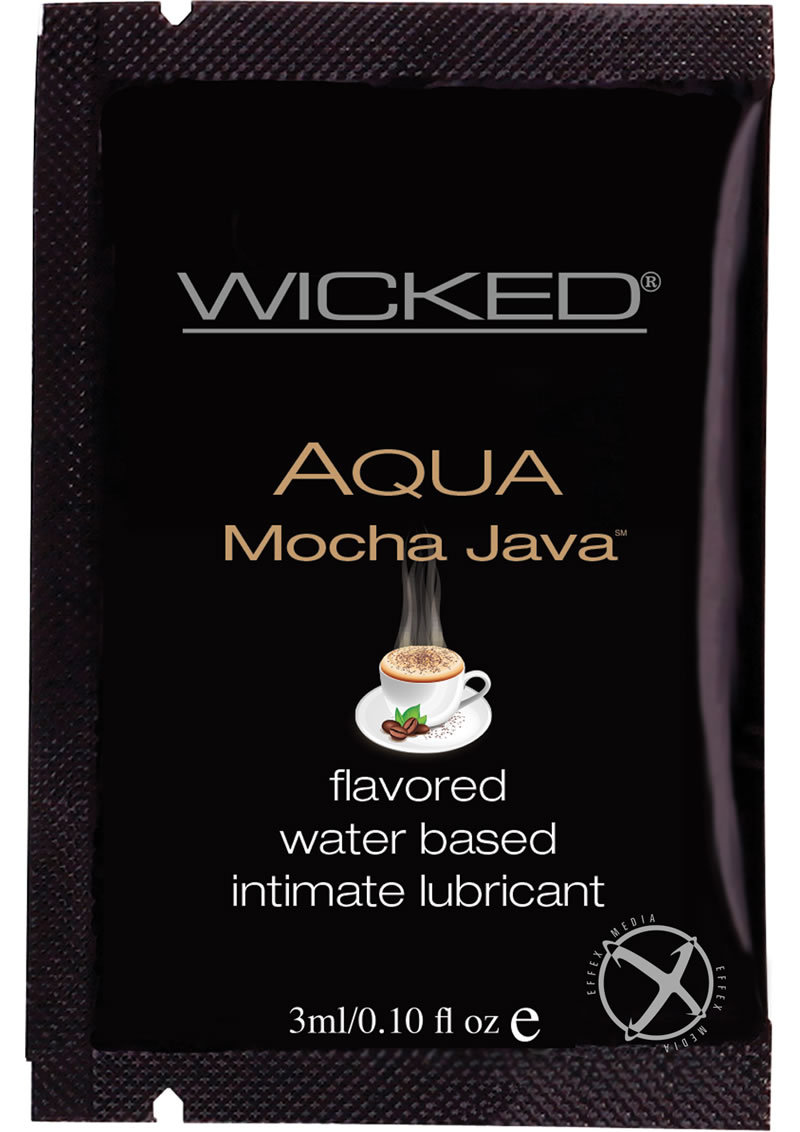 Wicked Aqua Flavored Water Based Foil Packs Mocha Java .10 Ounce 144 Each Per Bag