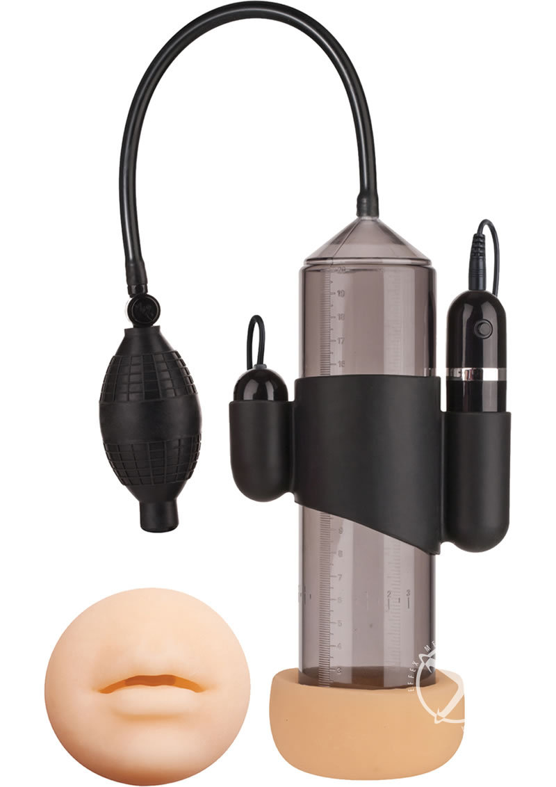 Supreme Vibrating Penis Pump With Mouth Masturbator Black 8 Inch Cylinder