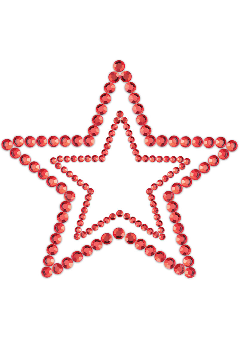 Bijoux Indiscrets Body Decorations Mimi Rhinestone Pasties Stars Red 2 Each Per Pack