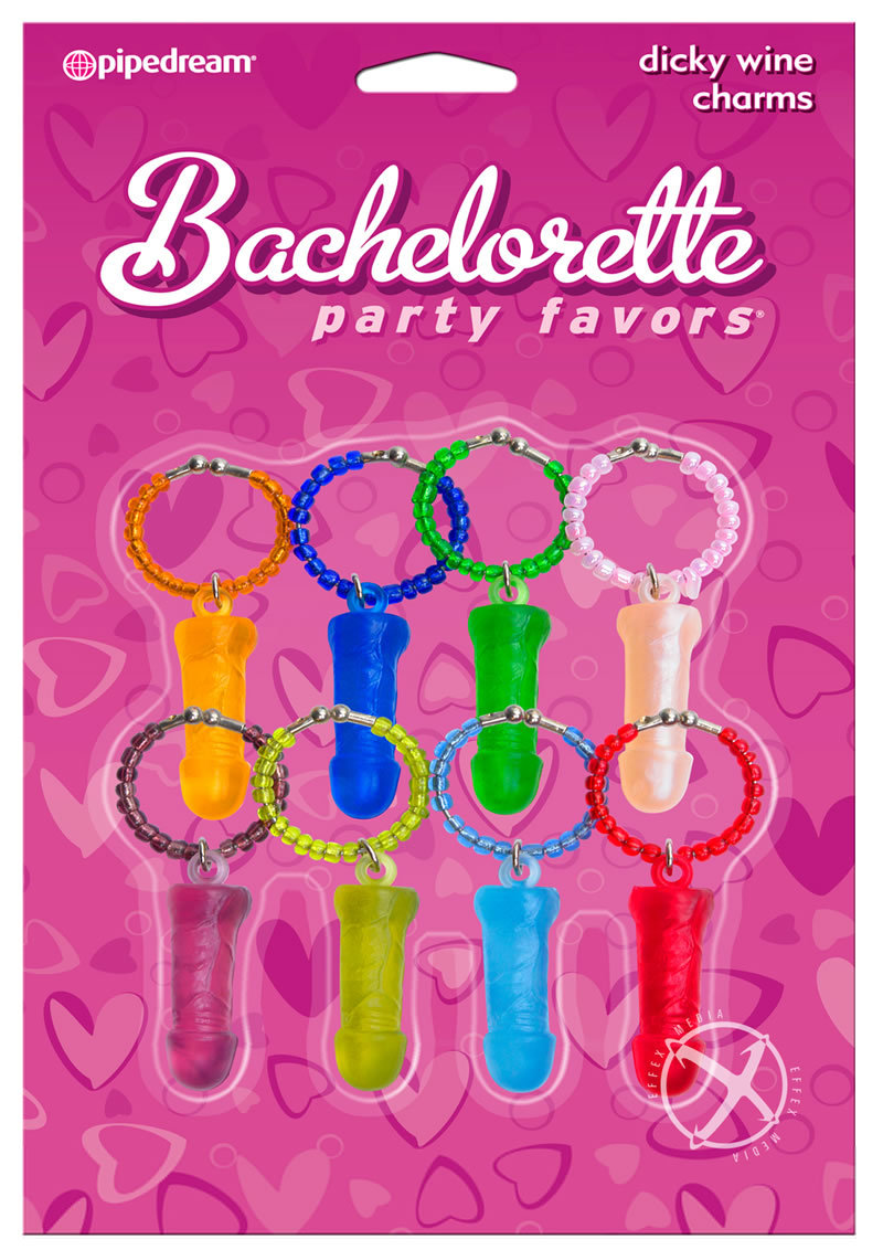 Bachelorette Party Favors Dicky Wine Charms Assorted Colors 8 Per Pack