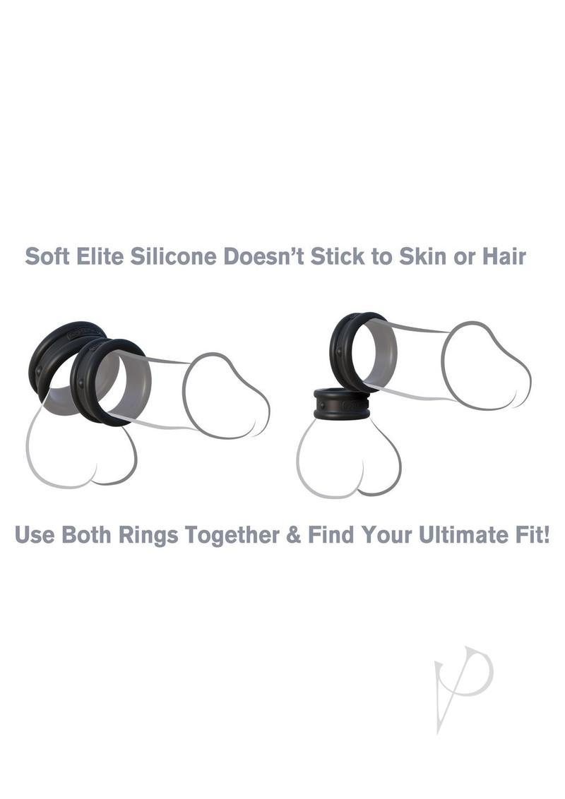 Fantasy C Ringz Max Width Silicone Rings Cockrings 2 Each Per Set Black
