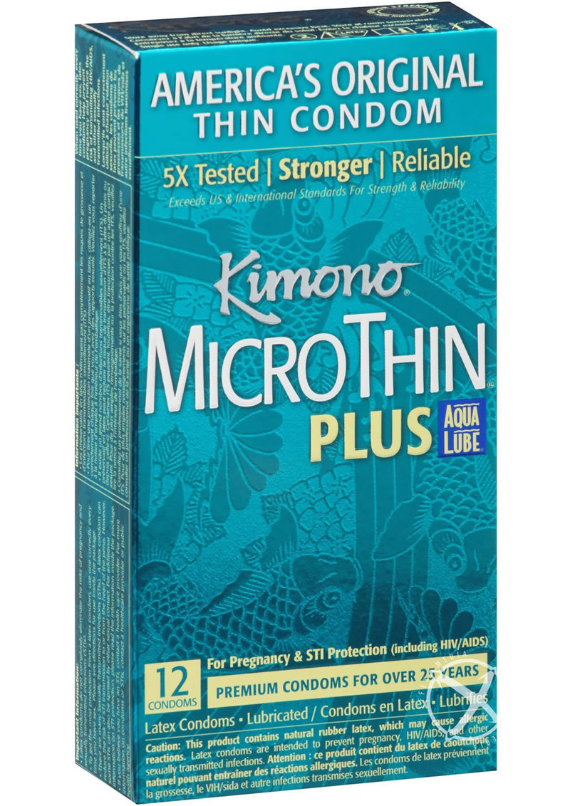 Kimono Microthin Condoms With Aqua Lube 12 Pack