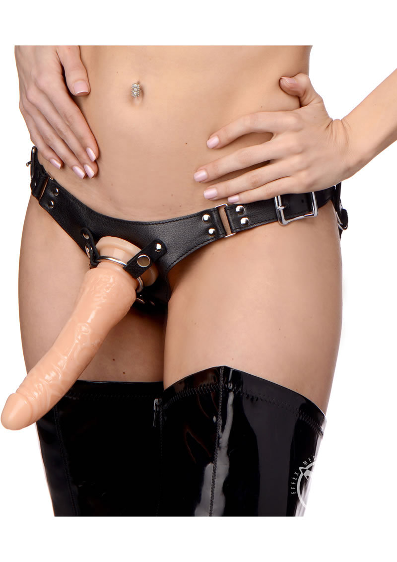 Dominance Leather Strap On Harness Leather And Metal Black