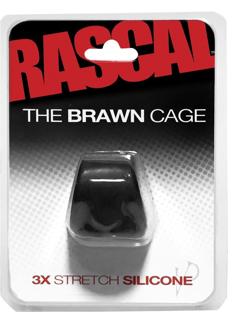 Rascal The Brawn Cage 3x Stretch Silicone Cock Ring Black