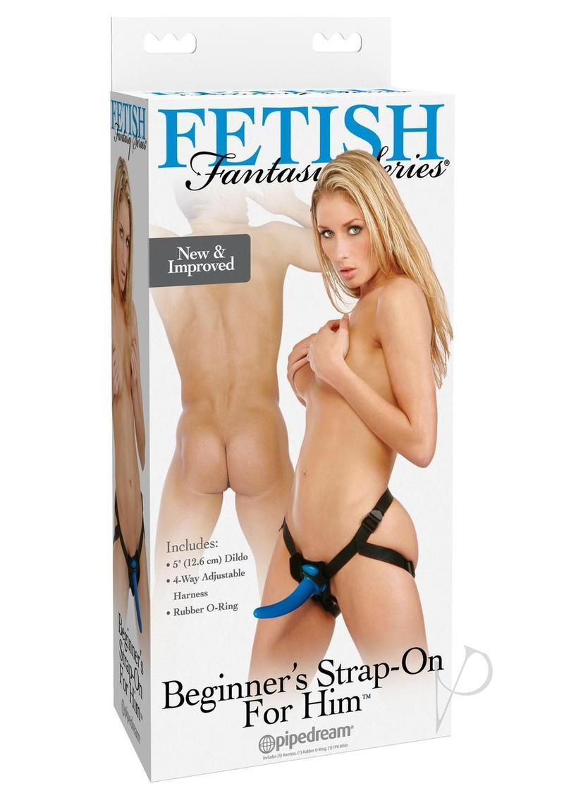 Fetish Fantasy Series Beginners Strap On For Him Jelly Dong Blue And Black 5.25 Inch