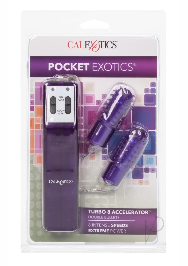 Turbo 8 Accelorator Double Bullets With Removable Ticklers 2.2 Inch Purple